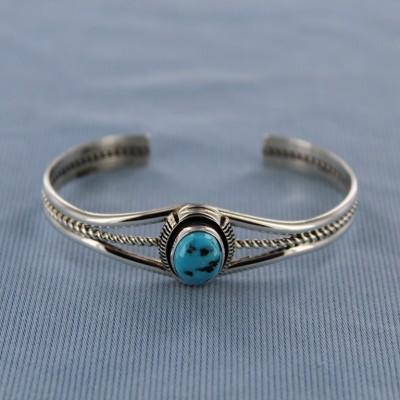 Kingman Turquoise Vertical Oval Sterling Silver Cuff Bracelet