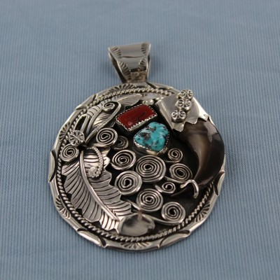 Genuine Bear Claw Kingman Turquoise and Red Coral   Sterling Silver Pendant