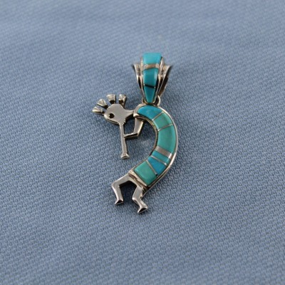 Sleeping Beauty Turquoise Inlay Sterling Silver Kokopelli Pendant with added inlay bail