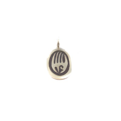 Bear Paw Oval Sterling Silver Pendant