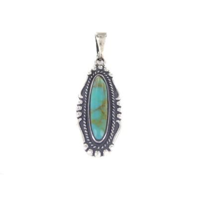 Boulder Turquoise Oblong Sterling Silver Pendant