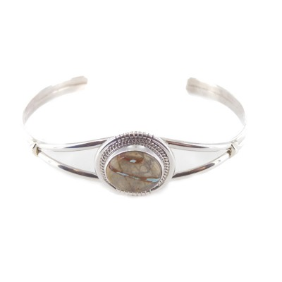 Boulder Turquoise Round Sterling Silver Cuff Bracelet