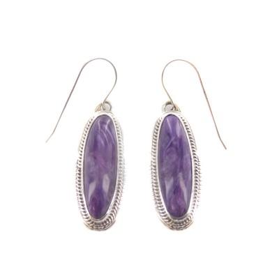 Charoite Elongated Oval Sterling Silver Dangle Earrings