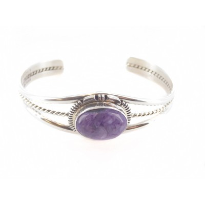 Charoite Large Horizontal Oval Sterling Silver Cuff Bracelet