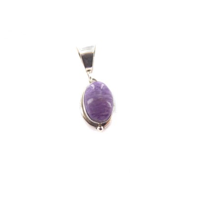 Charoite Small Oval Sterling Silver Pendant