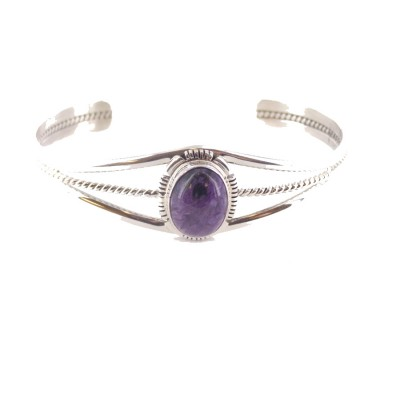 Charoite Small Vertical Oval Sterling Silver Cuff Bracelet