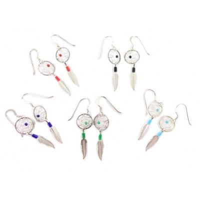 Dreamcatcher Sterling Silver Dangle Earrings