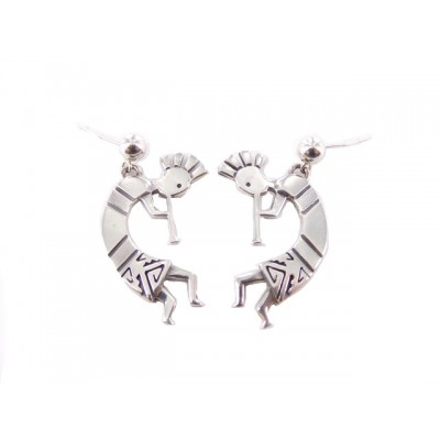 Kokopelli Large Etched Sterling Silver Earrings