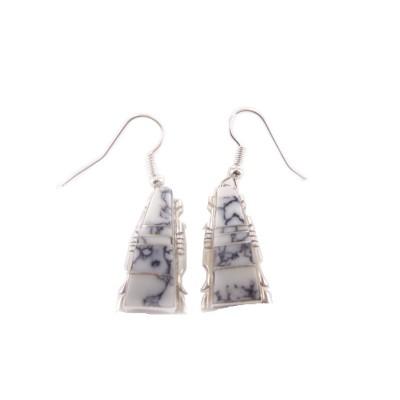 White Buffalo Turquoise Rectangle Sterling Silver Dangle Earrings
