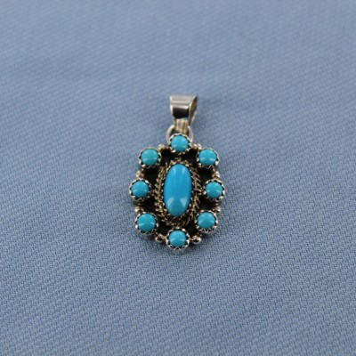 Squash Blossom Inspired Sleeping Beauty Turquoise Sterling Silver Pendant
