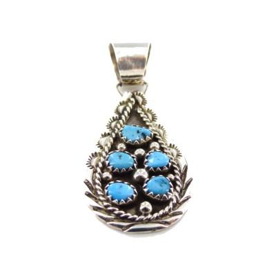 Kingman Turquoise 5 Stone Sterling Silver Pendant