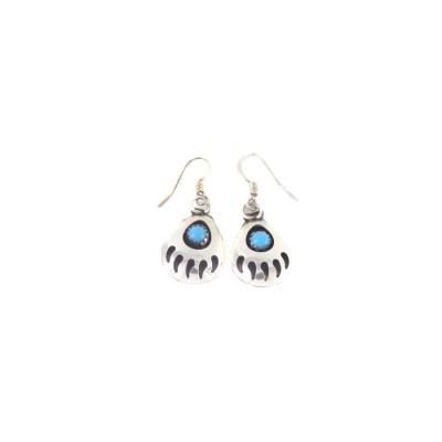 Kingman Turquoise Bear Paw Sterling Silver Dangle Earrings