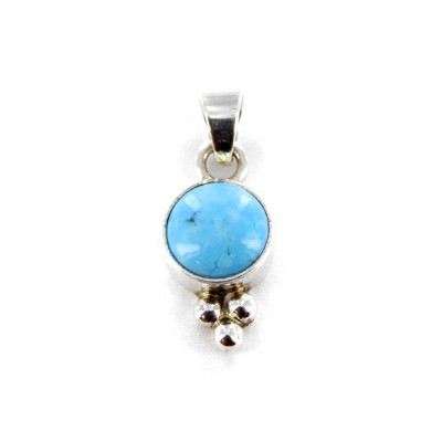 Kingman Turquoise Classic Round Sterling Silver Pendant