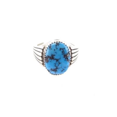 Kingman Turquoise Men's Oval Sterling Silver Ring