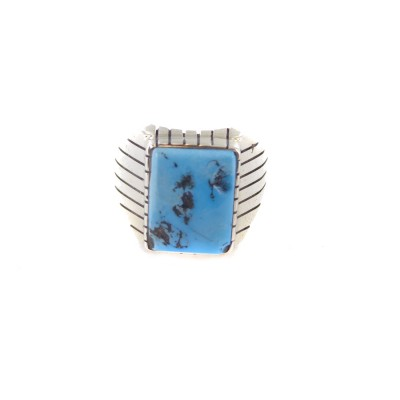Kingman Turquoise Men's Rectangle Sterling Silver Ring
