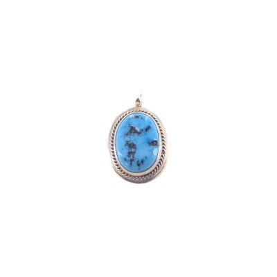 Kingman Turquoise Oval Rope Edge Sterling Silver Pendant