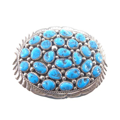 Kingman Turquoise Cluster Sterling Silver Buckle