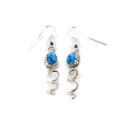 Kingman Turquoise Sterling Silver Dangle Earrings