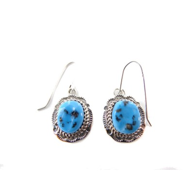 Kingman Turquoise Oval Sterling Silver Dangle Earrings