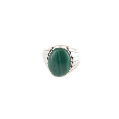 Malachite Men's Oval Sterling Silver Ring