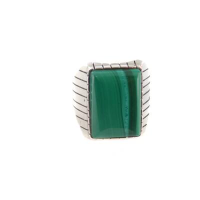 Malachite Men's Rectangle Sterling Silver Ring