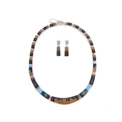 Multi Stone Pueblo Style Reversible Sterling Silver Set