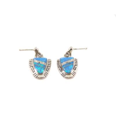Ocean Opal Triangle Sterling Silver Stud Dangle Earrings