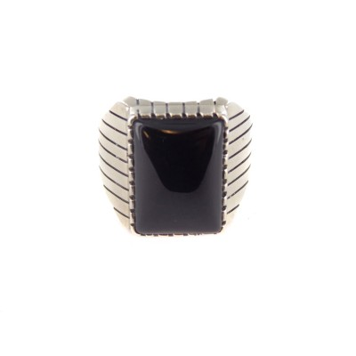 Onyx Men's Rectangle Sterling Silver Ring