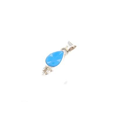 Sleeping Beauty Turquoise Tear Drop Sterling Silver Pendant