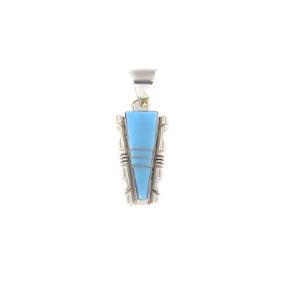 Sleeping Beauty Turquoise Feather Edged Sterling Silver Pendant