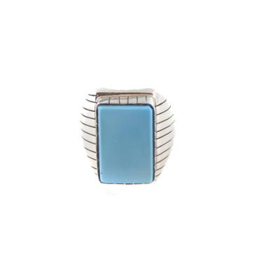 Sleeping Beauty Turquoise Men's Rectangle Sterling Silver Ring