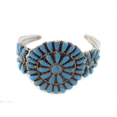 Squash Blossom Round Sterling Silver Cuff Bracelet