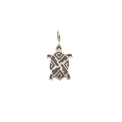 Turtle Black Etched Sterling Silver Pendant