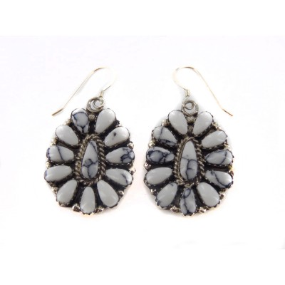 White Buffalo Turquoise Squash Blossom Dangling Earrings