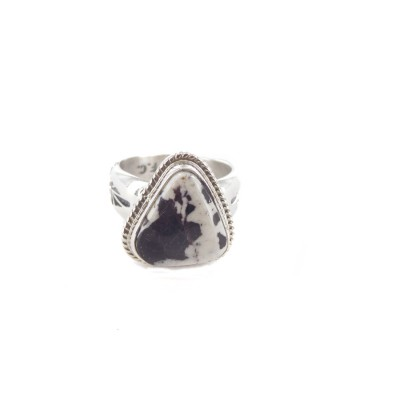 White Buffalo Turquoise Equilateral Triangle Sterling Silver Ring