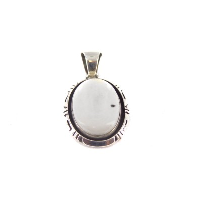 White Buffalo Turquoise Oval Sterling Silver Pendant