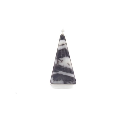 White Buffalo Turquoise Triangle Sterling Silver Pendant