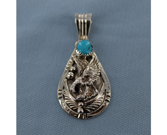Decorated Eagle Sterling Silver Pendant with Kingman Turquoise