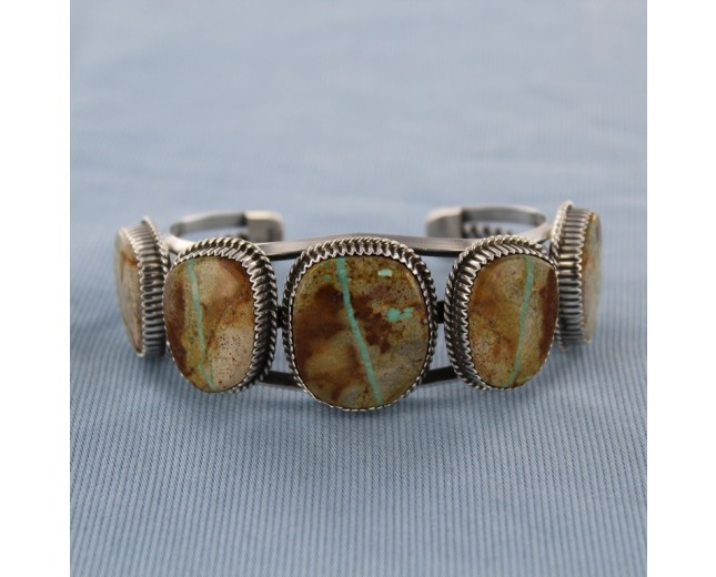 Five stone Boulder Turquoise Sterling Silver Cuff Bracelet