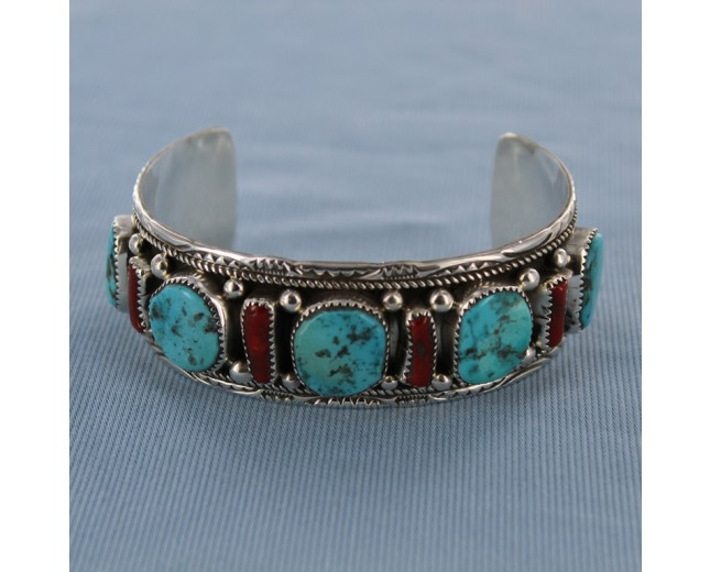 Coral and Turquoise Sterling Silver Cuff Bracelet