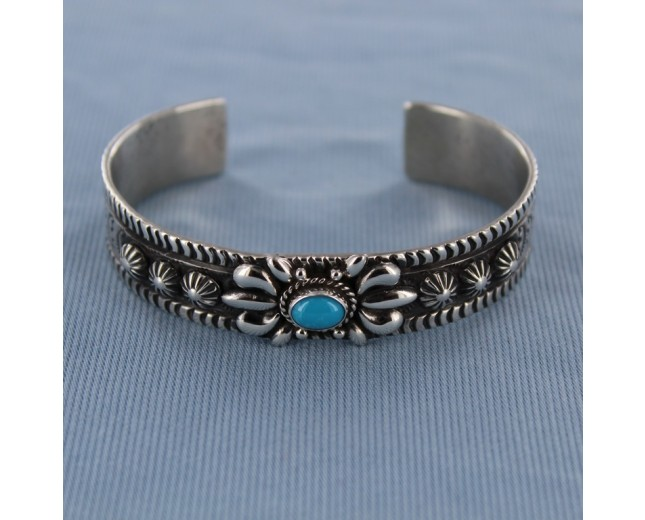 Antique Turquoise Sun and Star Sterling Silver Cuff   Bracelet