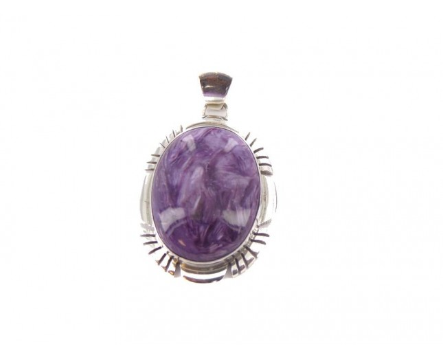 Charoite Large Oval Sterling Silver Pendant