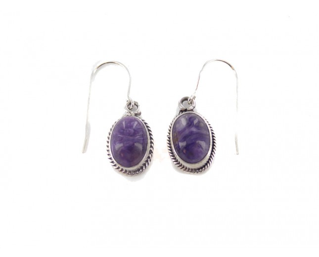 Charoite Oval Sterling Silver Dangling Earrings
