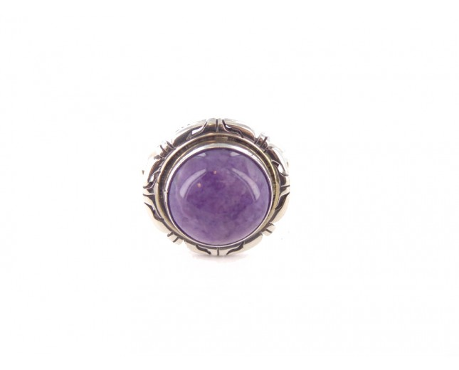 Charoite Small Circlular Sterling Silver Ring