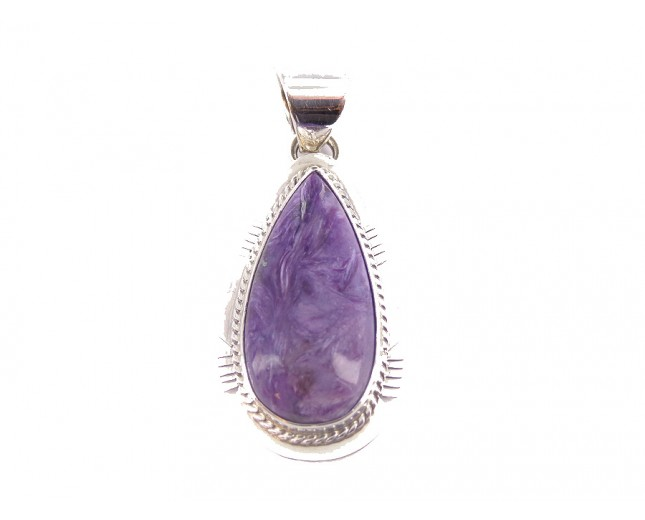 Charoite Teardrop Large Sterling Silver Pendant