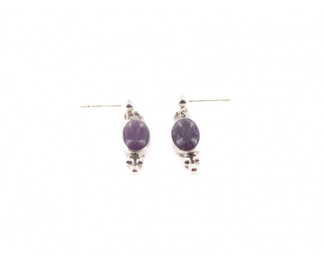 Charoite Tiny Oval Sterling Silver Stud Dangle Earrings