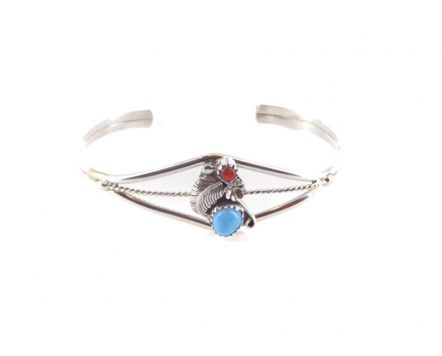 Coral And Turquoise With Feather Sterling Silver Cuff Bracelet