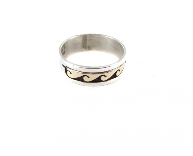 Gold Leafed Waves Sterling Silver Ring
