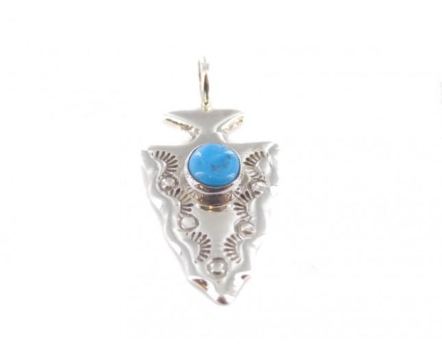 Kingman Turquoise Arrowhead Sterling Silver Pendant