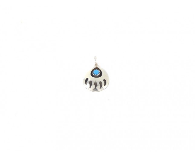 Kingman Turquoise Bear Paw Medium Sterling Silver Pendant